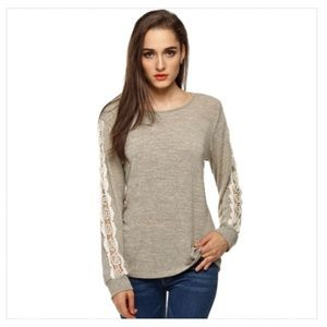 Meaneor Grey Shirt with lace sleeve